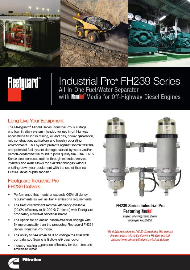 industrial pro® fh239 series all-in-one fuel/water separator with nanonet®  technology