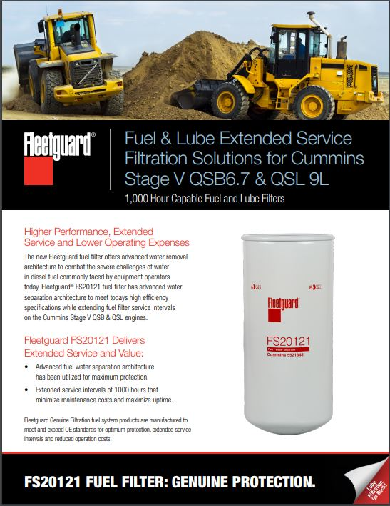 fuel & lube extended service filtration solutions for cummins stage v  qsb6 7 & qsl 9l