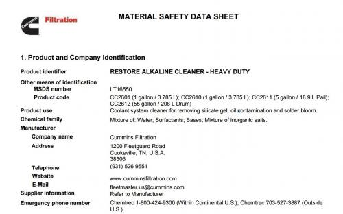 Material Safety Data Sheets Msds Cummins Filtration